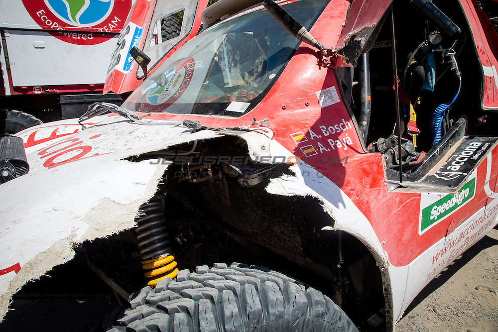 Acciona 100x100 ecopowered,electric car, Dakar 2015, third leg