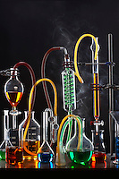 Science equipment including test tubes and flasks