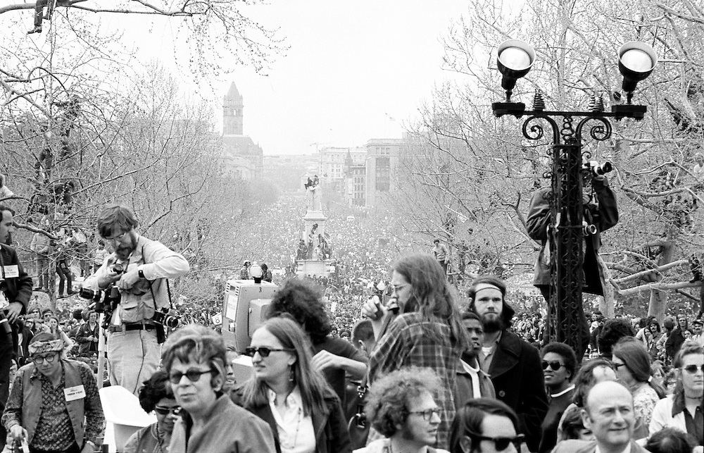 Antiwar protestors on the U.S. Capitol grounds and the Mall during massive demonstrations against the Vietnam war on April 23, 1971 as Lt. John Kerry prepares to speak. - To license this image, click on the shopping cart below -