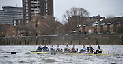 Putney. London, Varsity Fixtures, Molesey BC, in windy conditions, trying to catch OUBC. OUBC vs Molesey BC. and CUBC vs Select NED crew. on the championship Course Putney to Mortlake.  ENGLAND. <br /> <br /> Saturday   21/03/2015<br /> <br /> [Mandatory Credit; Intersport-images]