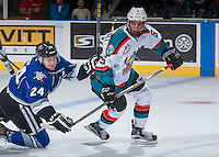KELOWNA, CANADA - SEPTEMBER 3: Regan Nagy #24 of Victoria Royals checks Konrad Belcourt #5 of Kelowna Rockets on September 3, 2016 at Prospera Place in Kelowna, British Columbia, Canada.  (Photo by Marissa Baecker/Shoot the Breeze)  *** Local Caption *** Regan Nagy; Konrad Belcourt;