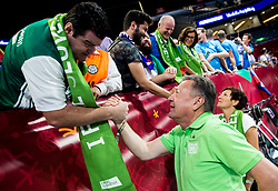 Fans and Zoran Jankovic celebrate after winning during basketball match between National Teams of Slovenia and Spain at Day 15 in Semifinal of the FIBA EuroBasket 2017 at Sinan Erdem Dome in Istanbul, Turkey on September 14, 2017. Photo by Vid Ponikvar / Sportida