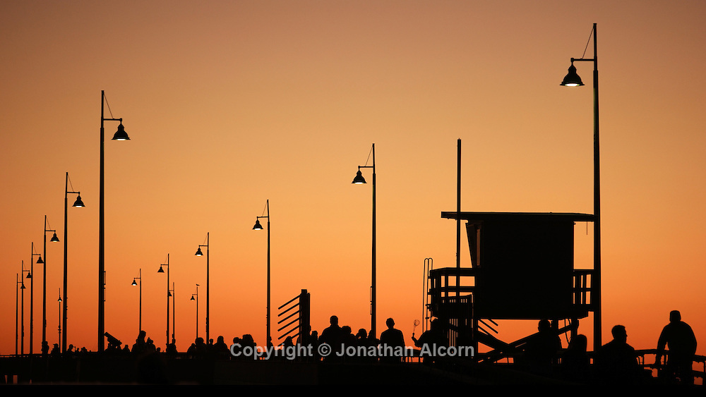 A lifeguard tower on the Venice Beach pier on a January day with a high temperature of 76 degrees on January 15, 2015 in Venice, California