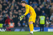 GOAL 2-2 Chelsea goalkeeper Kepa Arrizabalaga (1) vents his frustration after Arsenal's equaliser from defender Héctor Bellerín (2) (not in picture) during the Premier League match between Chelsea and Arsenal at Stamford Bridge, London, England on 21 January 2020.