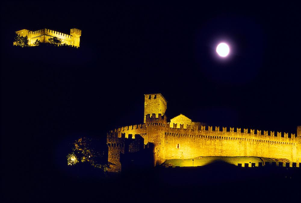 Castello di Montebello and Castello di Sasso Corbaro (above, in back), Bellinzona, Ticino, Switzerland