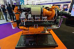 Large 16 litre marine V8 diesel engine manufactured by Scania on display at Dubai International Boat Show 2016 , United Arab Emirates