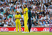 Kane Richardson of Australia thinks he should have had the wicket of Eoin Morgan of England during the One Day International match between England and Australia at the Kia Oval, London, United Kingdom on 13 June 2018. Picture by Graham Hunt.