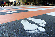 SHENYANG, CHINA - OCTOBER 14: (CHINA OUT)<br /> <br /> Funny Zebra Crossing's<br /> <br /> Zebra crossings decorated as little feet are seen at Xinggong Street on October 14, 2014 in Shenyang, Liaoning province of China. Zebra crossings are designed into various funny forms such as piano keys, musical satffs and little feet to draw citizens\' attention to walk on sidewalk when cross roads. <br /> ©Exclusivepix