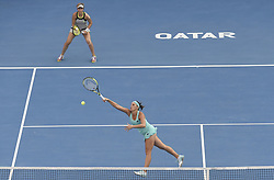 DOHA, Feb. 19, 2018  Andreja Klepac (Bottom) of Slovenia and Maria Jose Martinez Sanchez of Spain compete during the double's final match against Gabriela Dabrowski of Canada and Jelena Ostapenko of Latvia at the 2018 WTA Qatar Open in Doha, Qatar, on Feb. 18, 2018. Gabriela Dabrowski and Jelena Ostapenko won 2-0 to claim the title. (Credit Image: © Nikku/Xinhua via ZUMA Wire)