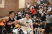 No Shnacks Guard LaMelo Ball (1) battles off a defender during a Drew League basketball game, Saturday, June 8, 2019, in Los Angeles.  (Dylan Stewart/Image of Sport)