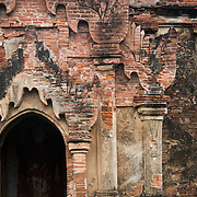 BAGAN, Myanmar (Burma) - Architectural detail of a pagoda in Bagan. Capital of the ancient Kingdom of Pagan, Bagan features thousands of temples and pagodas, some of which date back to the 9th century.