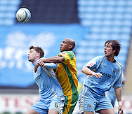 Coventry - Saturday, March 8th, 2008: Stephen Hughes (L) and Elliott Ward (R)of Coventry City and Dion Dublin (C) of Norwich City during the Coca Cola Championship match at the Ricoh Arena, Coventry. (Pic by Paul Hollands/Focus Images)