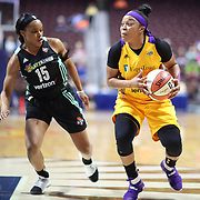 UNCASVILLE, CONNECTICUT- May 2:  Odyssey Sims #1 of the Los Angeles Sparks defended by Brittany Boyd #15 of the New York Liberty during the Los Angeles Sparks Vs New York Liberty, WNBA pre season game at Mohegan Sun Arena on May 2, 2017 in Uncasville, Connecticut. (Photo by Tim Clayton/Corbis via Getty Images)