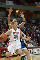 04 February 2006:  Holly Hallstrom cuts past the Sycamore defense. The Indiana State Sycamores shook the Illinois State Redbirds from the nest with a 75-71 Victory.  There were 3,581 fans on hand, making the audience the  2nd largest women's basketball crowd ever in Redbird Arena on Illinois State University campus in Normal Illinois.