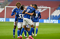 Football - 2019 / 2020 Championship - Cardiff City vs Blackburn Rovers<br /> <br /> Will Vaulks of Cardiff City celebrates scoring his team's first goal<br /> in a match played with no crowd due to Covid 19 coronavirus emergency regulations, at the almost empty Liberty Stadium.<br /> <br /> COLORSPORT/WINSTON BYNORTH