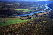 Susquehanna River north branch, Aerial, US route #6. Susquehanna County, PA