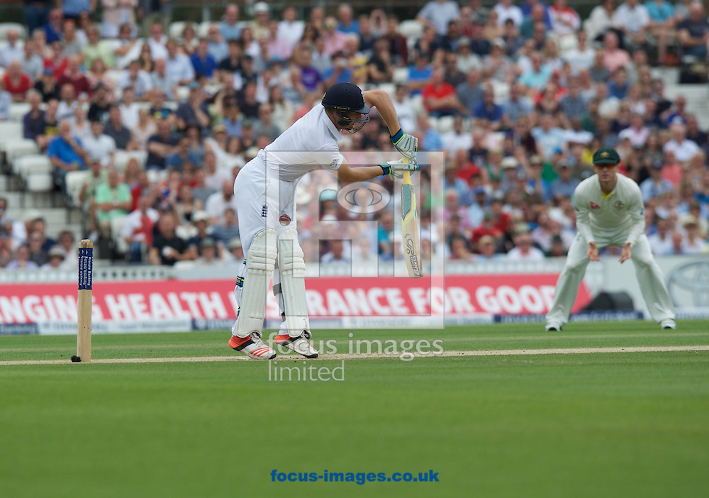 Jos Buttler of England gets hit in the groin during the 5th Investec Ashes Test match at the Kia Oval, London<br /> Picture by Alan Stanford/Focus Images Ltd +44 7915 056117<br /> 23/08/2015