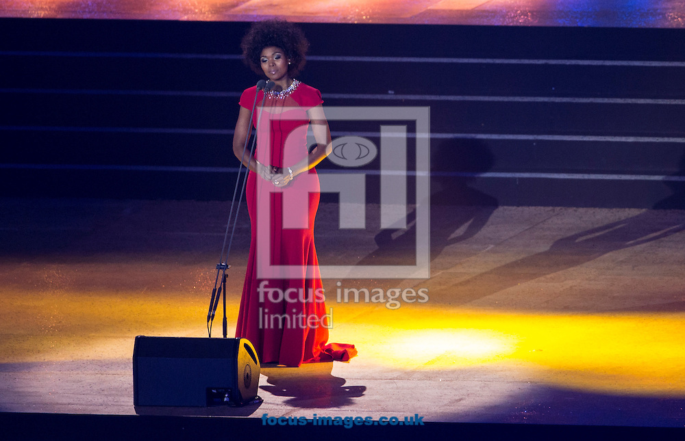 Pumeza performs during the Glasgow 2014 Commonwealth Games Opening Ceremony at Celtic Park, Glasgow<br /> Picture by Paul Terry/Focus Images Ltd +44 7545 642257<br /> 23/07/2014