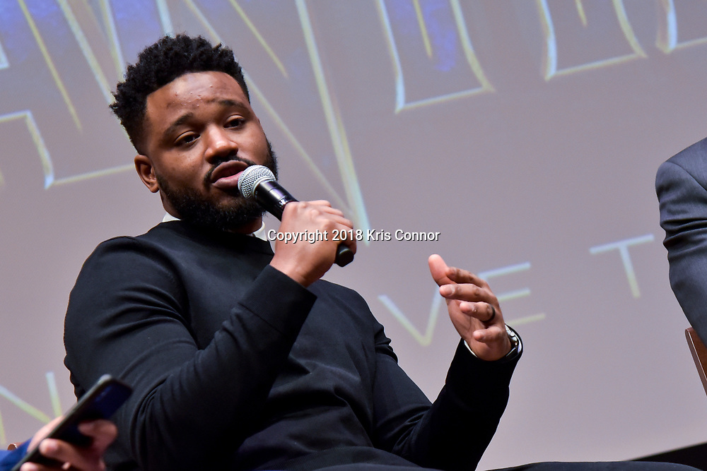 "Director Ryan Coogler joins the Washington Post's David Betancourt in conversation before a special advance screening of ""Black Panther"" on Sunday, February 11 at the National Museum of African American History of Culture in Washington, D.C. (Photo by Kris Connor for Disney)"