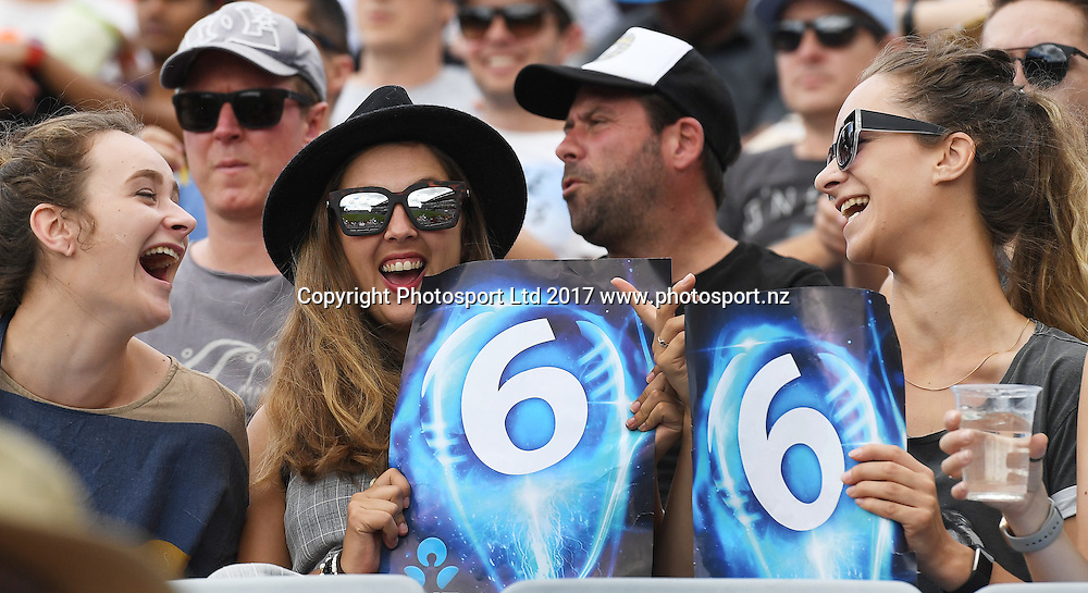 Fans and supporters in the crowd. One Day International Cricket. New Zealand Black Caps v South Africa Proteas. Eden Park, Auckland. New Zealand. Saturday 4 March 2017 © Copyright photo: Andrew Cornaga / www.photosport.nz