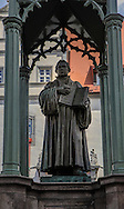 The statue of Martin Luther in the center square of the town of Wittenberg, Germany<br /> Photo by Dennis Brack