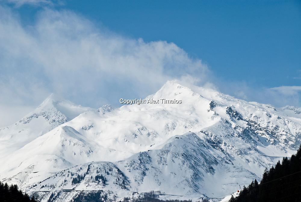 Peak covered with snow in Switzerland, near the Gottard pass