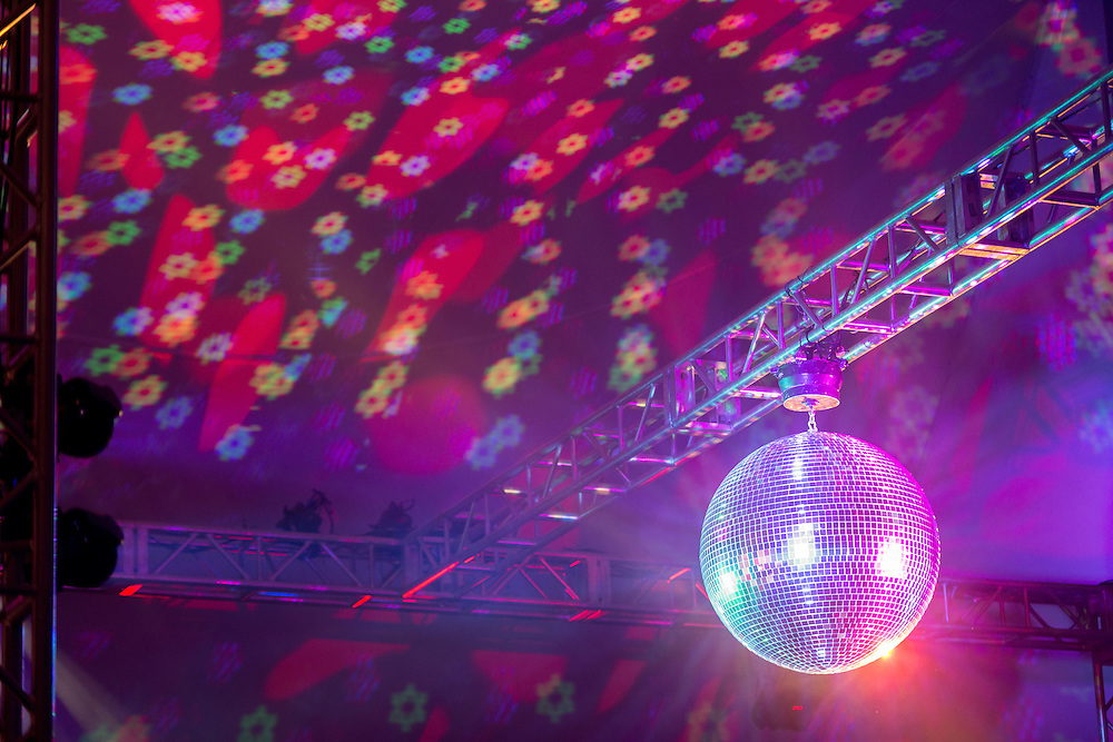 Mirror ball with colored lights in Lewisburg, Pennsylvania, USA