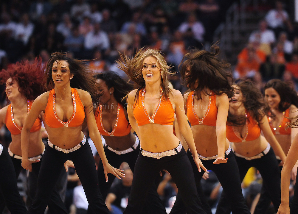 Mar. 26 2010; Phoenix, AZ, USA; The Phoenix Suns dancers dance at the US Airways Center.  The Suns defeated the Knicks 132-96.  Mandatory Credit: Jennifer Stewart-US PRESSWIRE.
