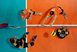 21-09-2019 NED: EC Volleyball 2019 Netherlands - Germany, Apeldoorn<br /> 1/8 final EC Volleyball / Christian Fromm #1 of Germany, Marcus Böhme #8 of Germany, Wouter Ter Maat #16 of Netherlands, Michael Parkinson #17 of Netherlands