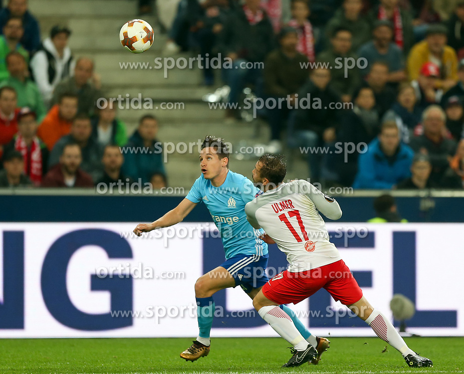03.05.2018, Red Bull Arena, Salzburg, AUT, UEFA EL, FC Salzburg vs Olympique Marseille, Halbfinale, Rueckspiel, im Bild Andreas Ulmer (FC Salzburg) und Florian Thauvin (Olympique Marseille)// during the UEFA Europa League Semifinal, 2nd Leg Match between FC Salzburg and Olympique Marseille at the Red Bull Arena in Salzburg, Austria on 2018/05/03. EXPA Pictures © 2018, PhotoCredit: EXPA/ Roland Hackl