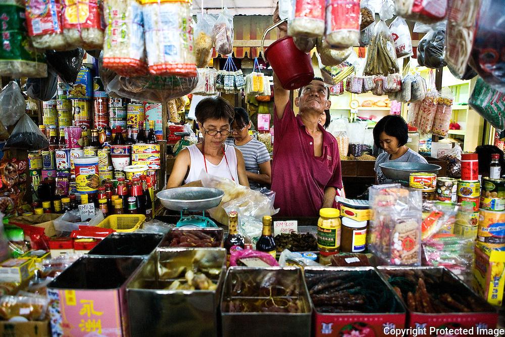 A dry goods stall at Imbi market, Kuala Lumpur, Malaysia