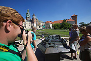 Poland, Krakow. Wawel (castle). Bronze model of the Wawel.