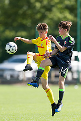NEWPORT, WALES - Tuesday, July 24, 2018: Sam Demery and Rhydian Williams during the Welsh Football Trust Cymru Cup 2018 at Dragon Park. (Pic by Paul Greenwood/Propaganda)