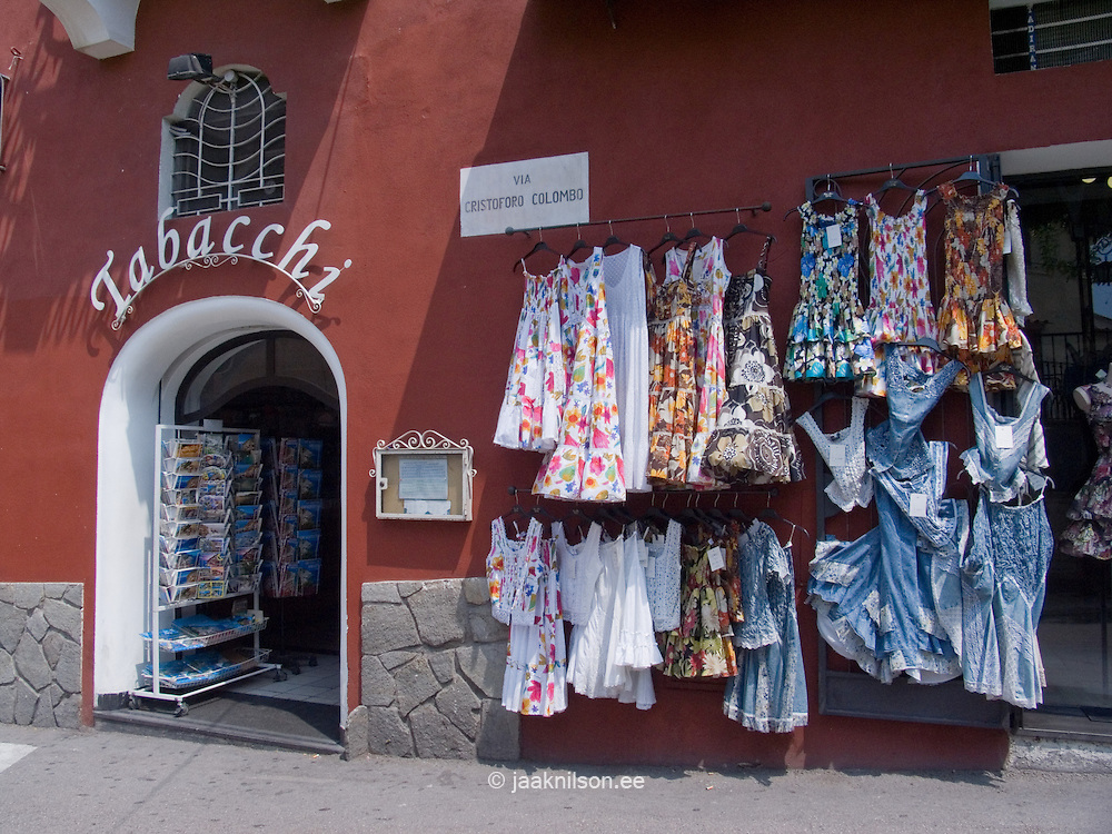 Clothes in Street Shop, Positano at Amalfi Coast, Campania, Italy, Europe,World Heritage Site