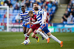 Derby Forward Jamie Ward (NIR) is surrounded on the break by reading players - Photo mandatory by-line: Rogan Thompson/JMP - 07966 386802 - 15/09/2014 - SPORT - FOOTBALL - Madejski Stadium - Reading - Reading v Derby County - Sky Bet Football League Championship.