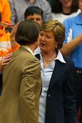 Dec 20, 2011; Stanford CA, USA;  Tennessee Lady Volunteers head coach Pat Summitt (right) talks to Stanford Cardinal head coach Tara VanDerveer (left) before the game at Maples Pavilion.  Mandatory Credit: Jason O. Watson-US PRESSWIRE\