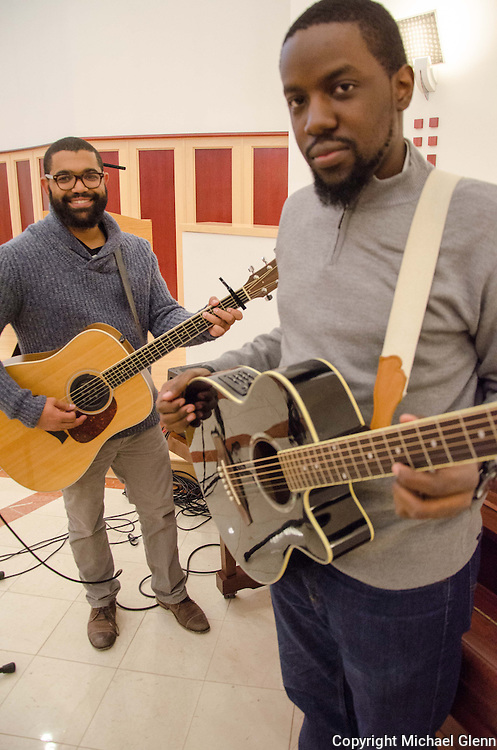 """Jan. 25, 2014 Piscataway USA // A youth music group called """"New Name"""" gets ready to perform at the New Jersey Catholic Young Adult Conference"""
