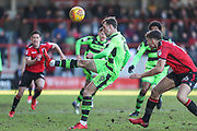 Forest Green Rovers Christian Doidge(9) hits the ball forward during the EFL Sky Bet League 2 match between Morecambe and Forest Green Rovers at the Globe Arena, Morecambe, England on 17 February 2018. Picture by Shane Healey.