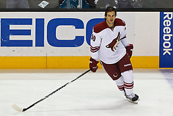 Mar 24, 2012; San Jose, CA, USA; Phoenix Coyotes center Antoine Vermette (50) warms up before the game against the San Jose Sharks at HP Pavilion.  San Jose defeated Phoenix 4-3 in shootouts. Mandatory Credit: Jason O. Watson-US PRESSWIRE