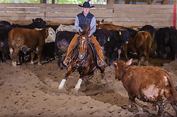 May 20, 2017 - Minshall Farm Cutting 3, held at Minshall Farms, Hillsburgh Ontario. The event was put on by the Ontario Cutting Horse Association. Riding in the 25,000 Novice Horse Class is Brian Kelly on Oklahoma Redneck owned by Ronald Stelzl.