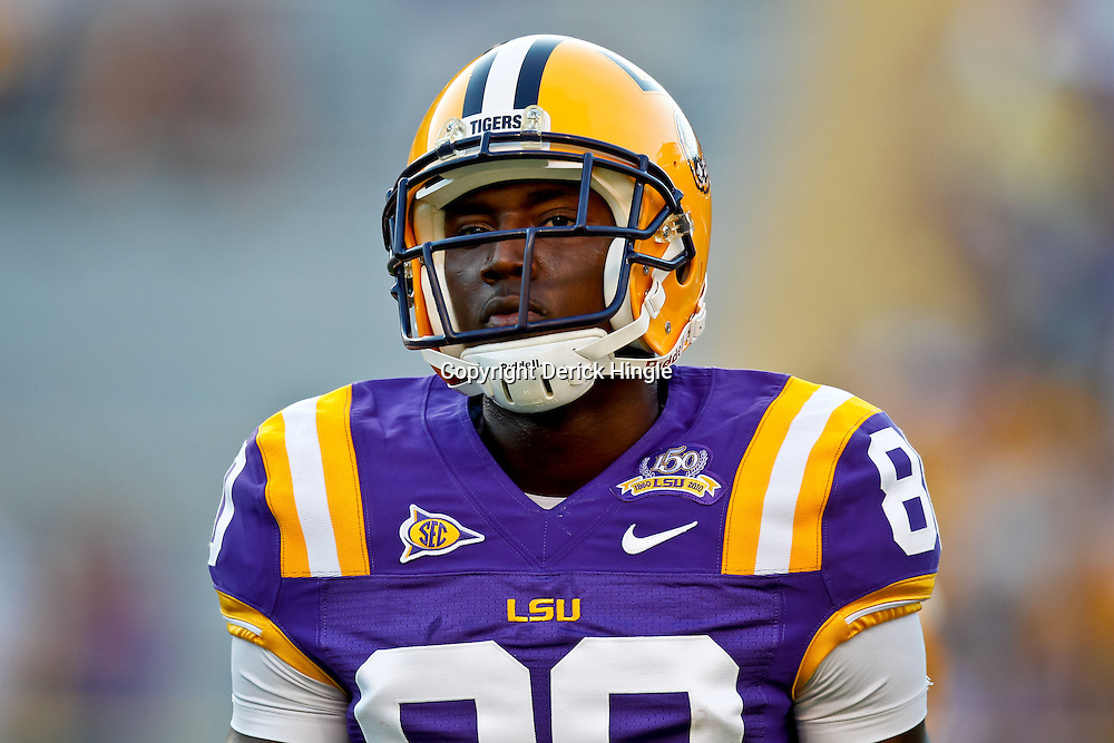 October 16, 2010; Baton Rouge, LA, USA; LSU Tigers wide receiver Terrence Toliver (80) during warm ups prior to kickoff against the McNeese State Cowboys at Tiger Stadium. LSU defeated McNeese State 32-10. Mandatory Credit: Derick E. Hingle