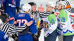 12.02.2016, Olympiaworld, Innsbruck, AUT, Euro Ice Hockey Challenge, Slowenien vs Frankreich, im Bild vl.: Jordann Perret (FRA), Linesmen, Robert Sabolic (SLO) und Ales Kranjc (SLO) // f.l. Jordann Perret of France Linesmen Robert Sabolic of Slowenia und Ales Kranjc of Slowenia during the Euro Icehockey Challenge Match between Slovenia and France at the Olympiaworld in Innsbruck, Austria on 2016/02/12. EXPA Pictures © 2016, PhotoCredit: EXPA/ Jakob Gruber