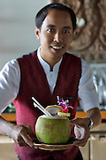 Ao Taling Ngam (beach). Le Royal Meridien Baan Taling Ngam, luxurious resort. Coconut drink.