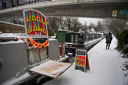 © Licensed to London News Pictures. 01/03/2018. London, UK. A canal boat selling Indian food in Little Venice, North London as the capital continues to be hit by extreme winter conditions. Large parts of the UK are experiencing disruption as freezing temperatures continue. Photo credit: Ben Cawthra/LNP