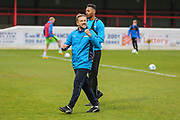 Forest Green Rovers assistant manager, Scott Lindsey acknowledges the away support during the Vanarama National League first leg play off match between Dagenham and Redbridge and Forest Green Rovers at the London Borough of Barking and Dagenham Stadium, London, England on 4 May 2017. Photo by Shane Healey.