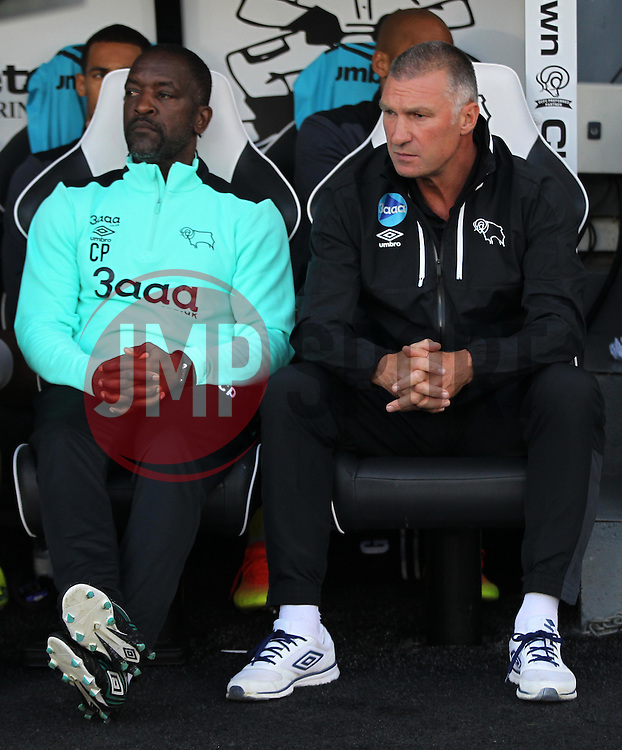 Derby County manager Nigel Pearson (L) and Assistant Manager Chris Powell before the match - Mandatory by-line: Jack Phillips/JMP - 09/08/2016 - FOOTBALL - iPro Stadium - Derby, England - Derby County v Grimsby Town - EFL Cup First Round