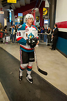 KELOWNA, CANADA - APRIL 8: Kole Lind #16 of the Kelowna Rockets heads for the dressing room after warm up against the Portland Winterhawks on April 8, 2017 at Prospera Place in Kelowna, British Columbia, Canada.  (Photo by Marissa Baecker/Shoot the Breeze)  *** Local Caption ***