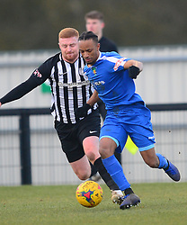 CORBY SAM WARBURTON MARKS MARCUS GOULDBOURNE DUNSTABLE TOWN,  Corby Town v Dunstable Town Evostik Southern League Division One Central  Steel Park Stadium, Saturday 9th February 2019. Score 1-2 (Kennedy), (Trif, Wreh)