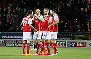 Rotherham players celebrate during the Sky Bet Championship match between Rotherham United and Bolton Wanderers at the New York Stadium, Rotherham, England on 27 January 2015. Photo by Richard Greenfield.