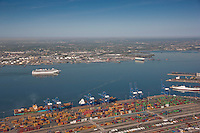 Aerial Photo of a passenger ship passing Maryland Port Administration Seagirt Terminal